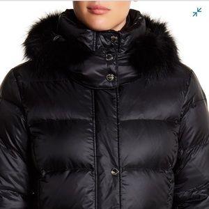 Fox fur-trim down coat